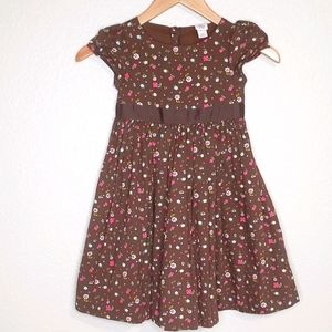 Gap Brown Gathered Floral Cotton Dress Size 4T